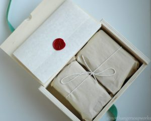 Wooden Gift Box, wax sealed letter, and soap