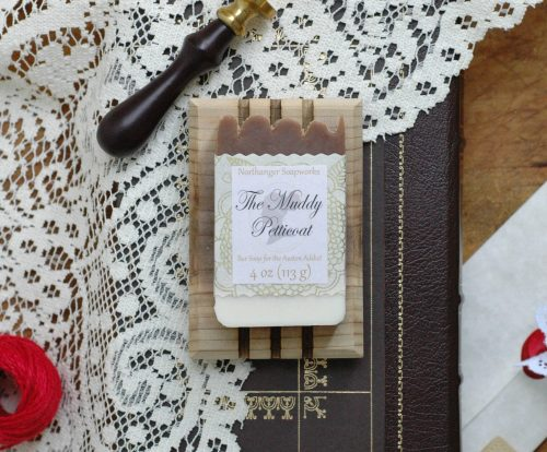 The Muddy Petticoat bar soap is 6 inches deep in mud, I am absolutely certain! Pride and prejudice at its finest, this is the perfect Jane Austen gift for a Lady.