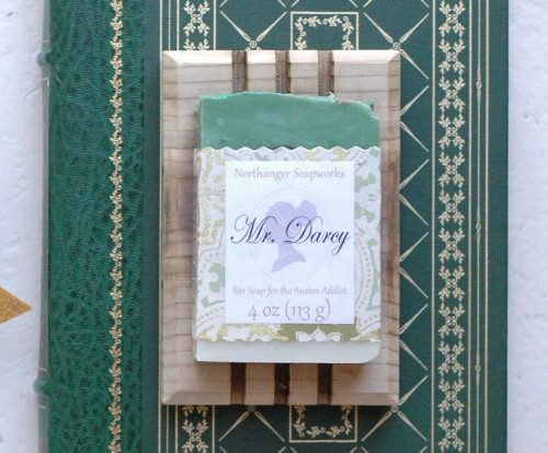 Mr. Darcy bar soap is just what every Pride and Prejudice fan needs! It has the earthy scent of cinnamon and patchouli with a glittery top for a splash of wealth. The perfect bathing companion and Jane Austen gift for a Lady.