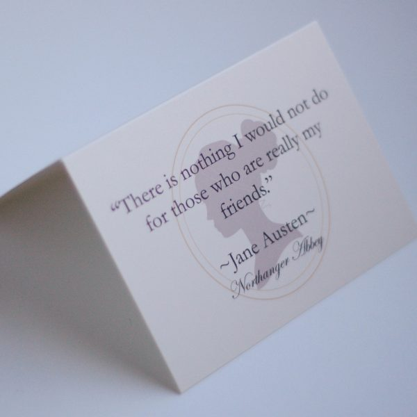 handwritten gift card with Jane Austen Northanger Abbey quote
