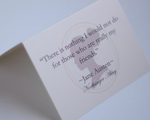 Handwritten gift card with Jane Austen Northanger Abbey quote, by Northanger Soapworks