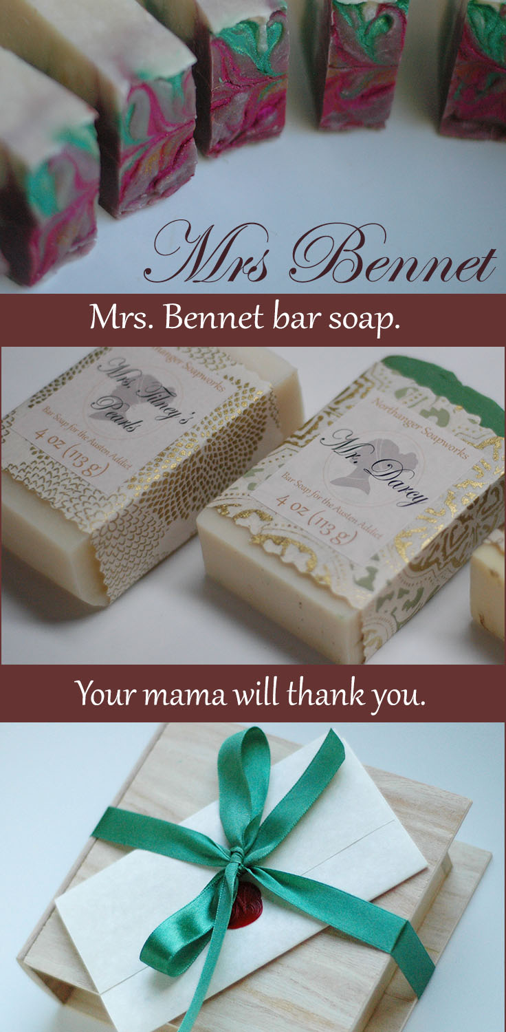 Mrs. Bennet bar soap is inspired from Jane Austen's Pride and Prejudice.