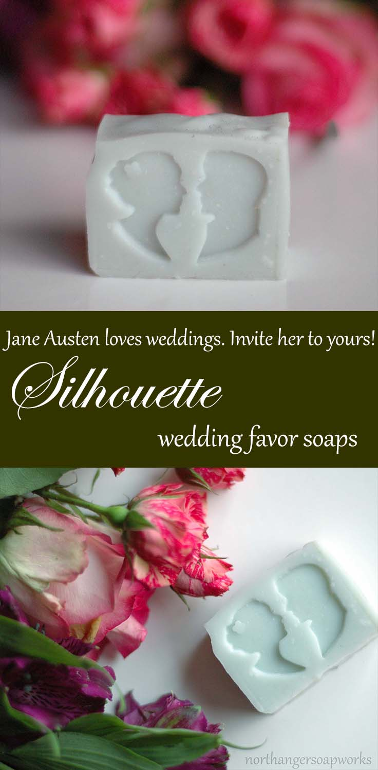 Invite Jane Austen to your wedding with these elegant silhouette wedding soap favors. Handmade and customized to your specifications by Northanger Soapworks. #janeausten #weddingfavors