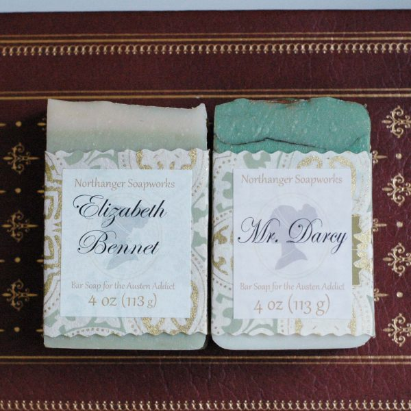 Jane Austen royalty, Mr. Darcy and Elizabeth Bennet belong together. Available from Northanger Soapworks. #janeausten #weddinggift