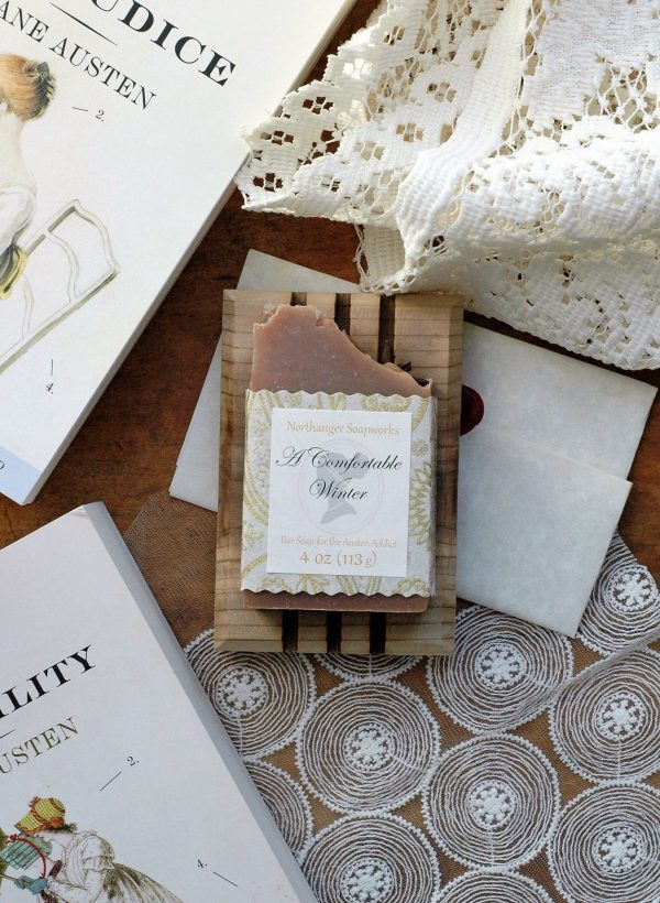 This Comfortable Winter bar soap inspired from Mansfield Park smells like the best of Winter: warming spices and pumpkin. The perfect Jane Austen gift for a Lady.