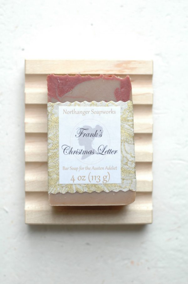Frank's Christmas Letter bar soap is a Jane Austen take on Gold, Frankincense, and Myrrh. The perfect Jane Austen gift for a Lady.