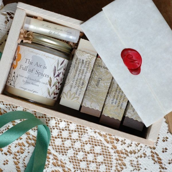 Jane Austen never smelled so good! Four of our most festive soaps and a bookish candle makes the perfect Christmas present for Jane Austen lovers. Look no further for that Jane Austen gift.