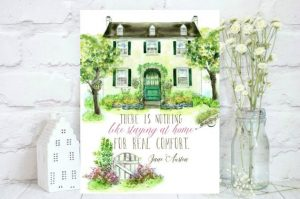 Watercolor House with quote from Jane Austen, by ShopLucyinthesky on etsy