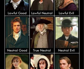 A Pride and Prejudice alignment chart, Dungeons and Dragons style! This is how I spent my youth--playing dungeons and dragons style games and watching Pride and Prejudice every weekend. Visit the article for the reasons and explanations:) #janeausten