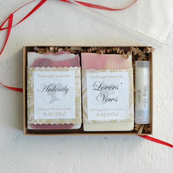 This Valentines Day gift set is curated with the most romantic Jane Austen inspired items from our shop! The soaps are inspired from Austen's most heart-stopping moments of love and madness, and combined with our chocolate lip balm, Lady Love, you can't go wrong with this set. The perfect gift for A Lady. By Northanger Soapworks