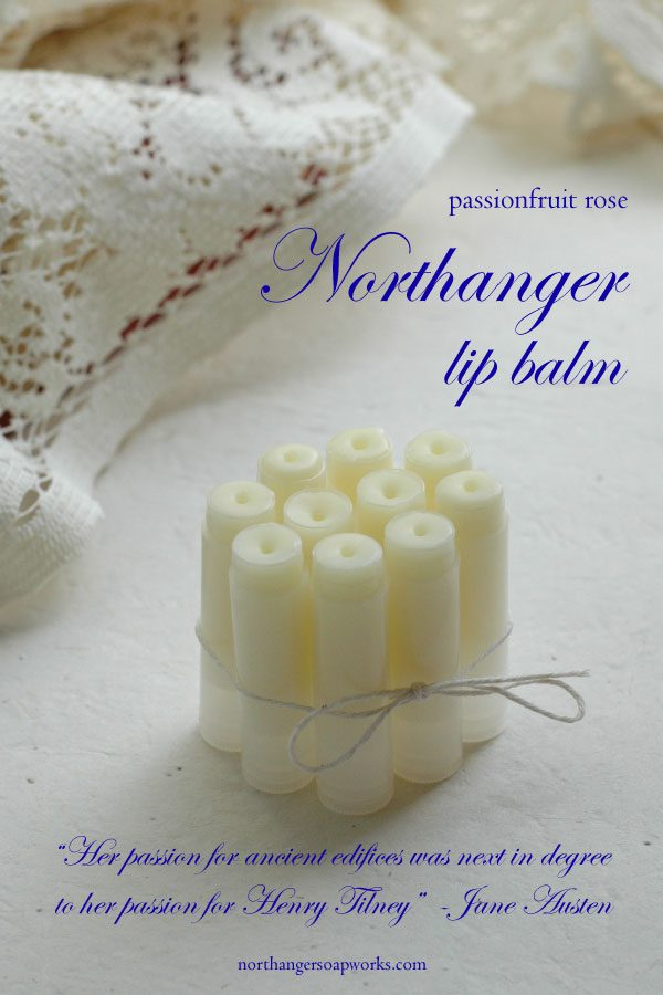 Catherine Morland is invited to Northanger Abbey and her heart goes wild. There is passionfruit for your passion in this delectable lip balm from Northanger Soapworks. The perfect Jane Austen gift for a Lady.
