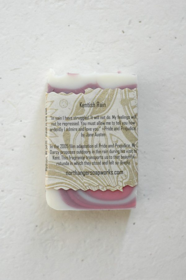 "Mr. Darcy's extraordinary proposal to Elizabeth Bennet in Pride and Prejudice inspired this rain scented bar soap. ""You must allow me to tell you how ardently I admire and love you."" The perfect Jane Austen gift for a lady."
