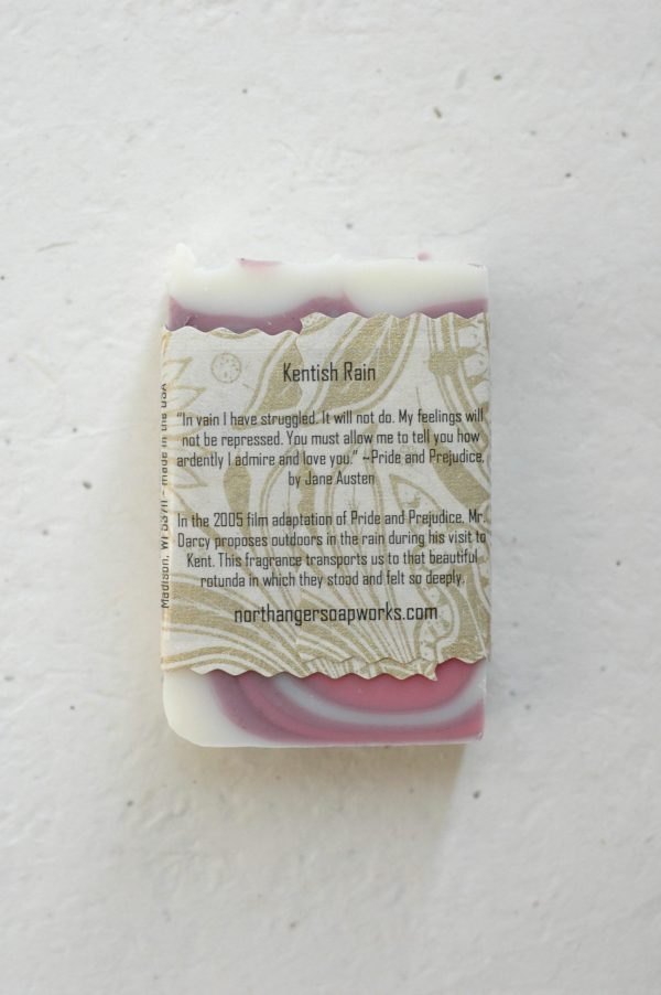 """Mr. Darcy's extraordinary proposal to Elizabeth Bennet in Pride and Prejudice inspired this rain scented bar soap. """"You must allow me to tell you how ardently I admire and love you."""" The perfect Jane Austen gift for a lady."""