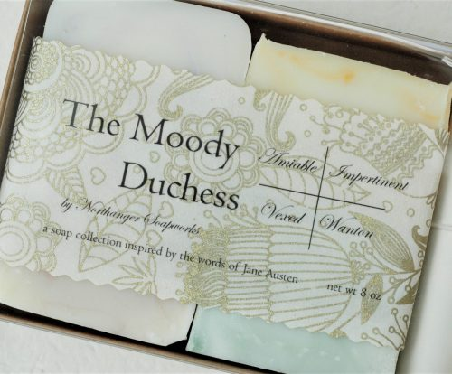 Inspired by the words of Jane Austen, this one of a kind soap collection has a something for every mood. The perfect Jane Austen gift for a lady.