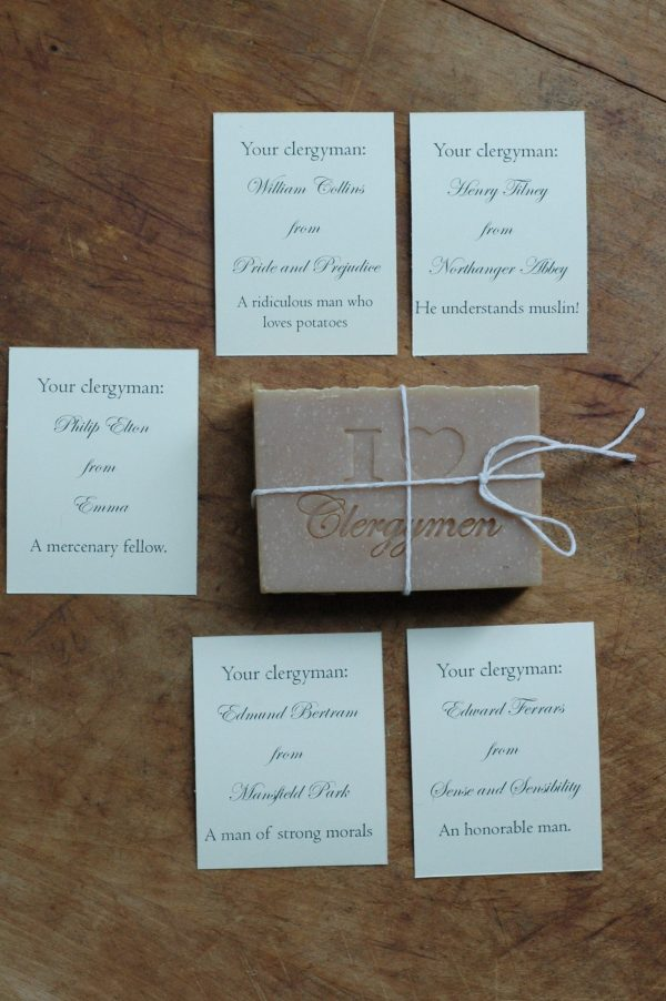 Jane Austen was surrounded by clergymen in her life and wrote five of her main characters into that profession. Naturally, as Jane Austen lovers, we love clergymen too! The perfect Jane Austen gift.