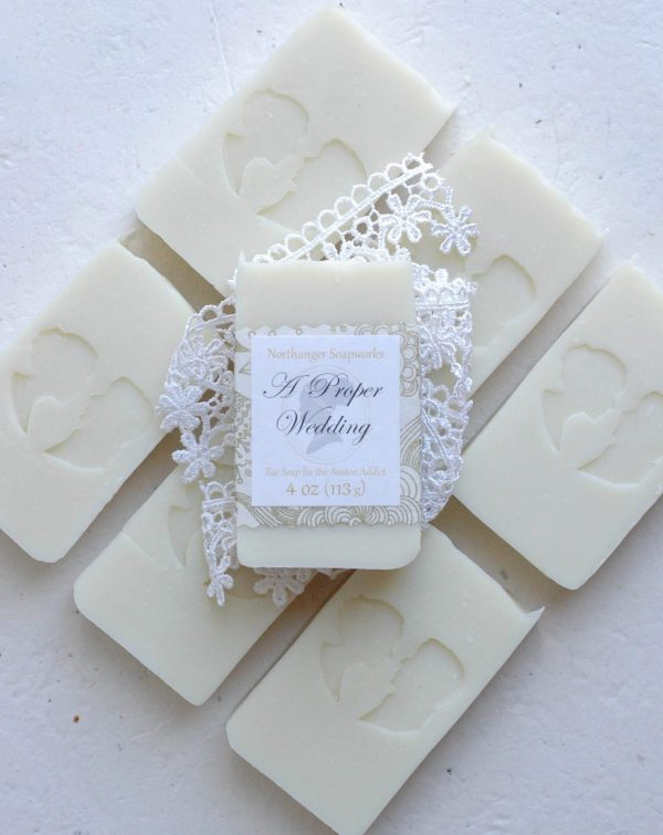 It was a very proper wedding. The bride was elegantly dressed; the two bridesmaids were duly inferior; her father gave her away; her mother stood with salts in her hand, expecting to be agitated; her aunt tried to cry. ~Can you not picture the amusement? This inspired bar soap is champagne scented and perfect for celebrations. The perfect Jane Austen gift for a lady.