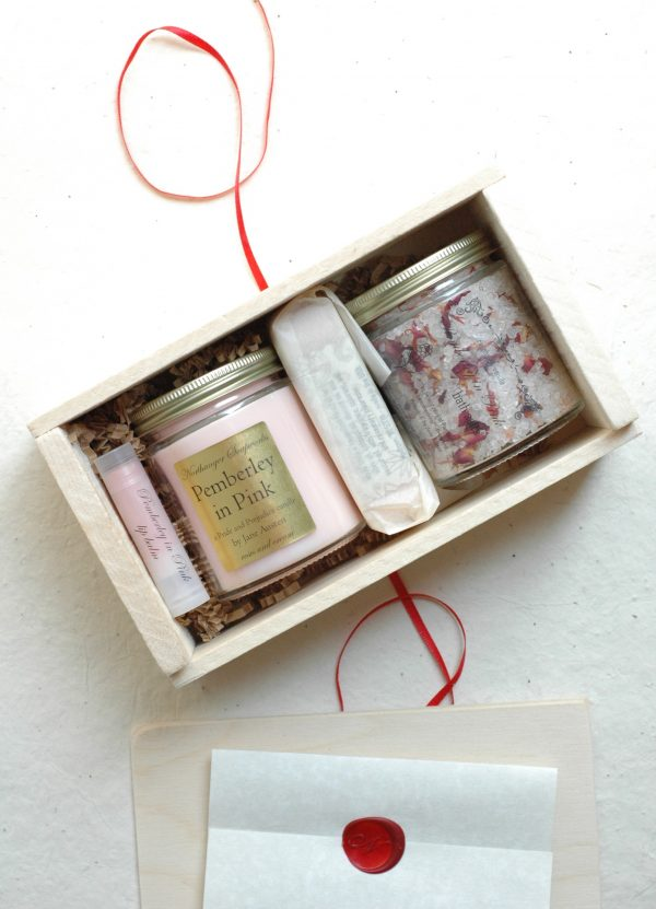 Inspired by Mr. Darcy's grand estate in bloom, Pemberley in Pink is a collection well-suited to any lady. It includes bar soap, lip balm, bath salts, and a candle, all pink with pink related scents! An inspired Jane Austen gift.