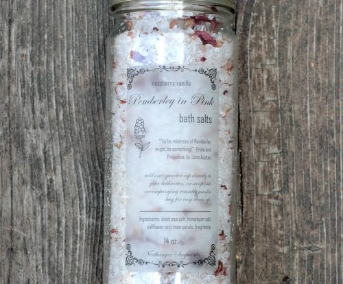 These raspberry vanilla bath salts are part of our Pemberley in Pink collection, inspired by Mr. Darcy's grand estate in Pride and Prejudice! Now you can enjoy a hot bath and dream of Pemberley. The perfect Jane Austen gift for a lady.