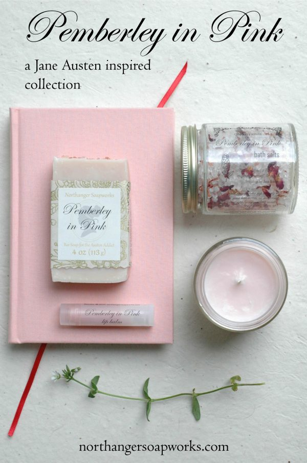 Inspired by Mr. Darcy's grand estate in bloom, Pemberley in Pink is a collection well-suited to any lady. Four pink scents, four unique products. Enjoy your time in Pride and Prejudice! An inspired Jane Austen gift.