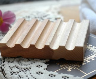 These grooved maple dishes will keep your soap dry and lasting longer! It is a beautiful yet simple draining soap dish to keep your handmade soap dry.