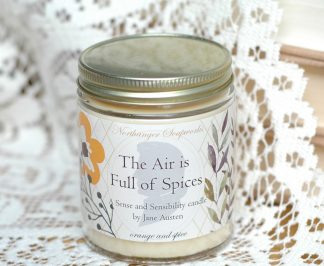 Inspired by the Sense and Sensibility 1995 film, the words of Colonel Brandon, played by Alan Rickman), are perfect for the Winter season: The Air is Full of Spices! As will your own air when you burn this deliciously spicy orange candle. A wonderful bookish candle gift for the reader.