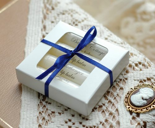 Love lip balm SOO much? Our lip balm gift box is just for you. Select four handmade lip balms from our Jane Austen inspired shop to go in this pretty white box. The perfect gift for the Jane Austen lover!