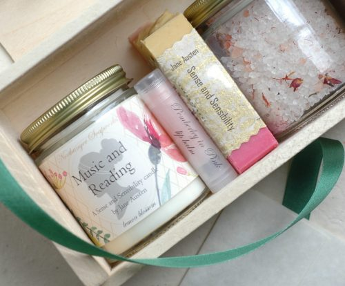 Fill your box with any candle, bath salts, lip balm, and soap in stock for a customized gift perfect for any Jane Austen lover
