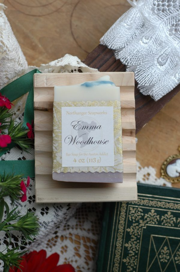 Do you know the clever Emma Woodhouse? This beloved Jane Austen heroine inspired soap smells of violet, strawberry, and jasmine.