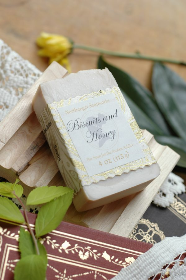 Would you care for biscuits and honey with your tea? This bar soap smells just like biscuits and honey, you won't be disappointed! The perfect Jane Austen gift.