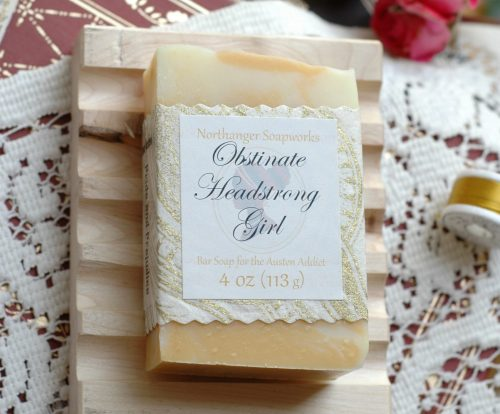 Obstinate Headstrong Girl is one of our most beloved lines from Pride and Prejudice! The bold yellow and bright lemon scent represent Elizabeth's boldness as she faces off against her foe Lady Catherine de Bourgh. The perfect Jane Austen gift.