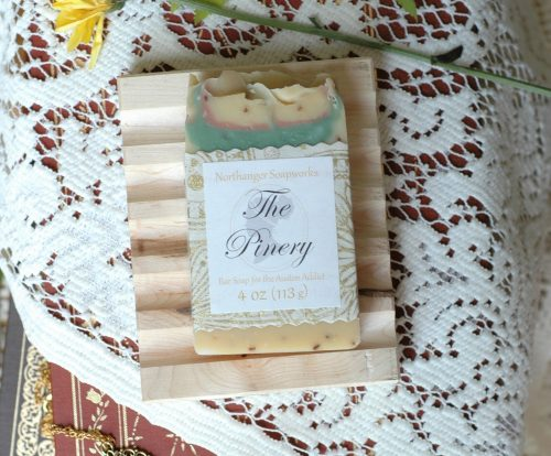 The Pinery bar soap is a fresh and juicy pineapple scented soap, inspired by the hot house pinery kept by General Tilney at Northanger Abbey. The perfect bookish gift!