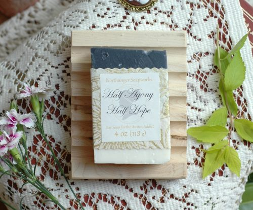 In Captain Wentworth's love letter to Anne, he wrote that he was half agony, half hope. This bar soap is inspired by those words. Inspired by Jane Austen's Persuasion.
