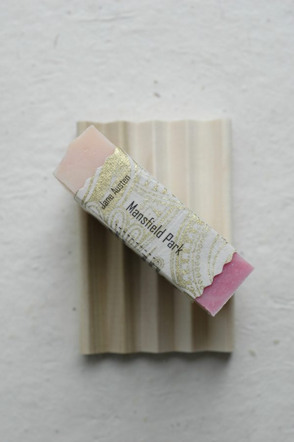 Will you act in the scandalous play, Lovers' Vows, alongside the residents of Mansfield Park? An artisan soap bar inspired from Jane Austen's novel, the perfect Jane Austen gift for a lady.