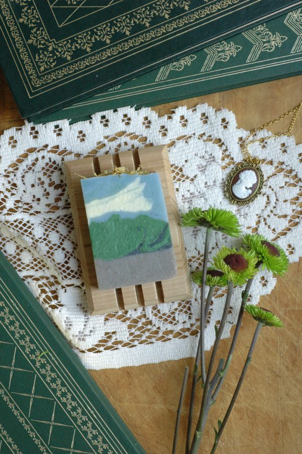 Box Hill bar soap is the perfect Jane Austen gift for any fan. It's a breath of wild flowers and grass, with a splendid view to match. Inspired by the visit to Box Hill in Jane Austen's beloved novel, Emma. #janeausten #janeaustengifts