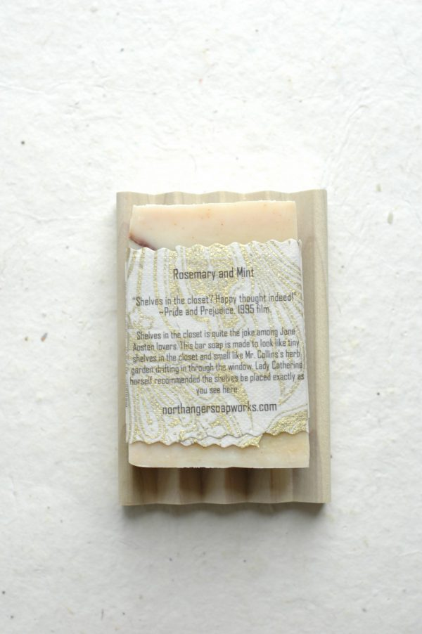 Shelves in the Closet bar soap is a Pride and Prejudice inspiration! Mr. Collins, the tiresome yet hilarious clergyman of the story, is extremely proud to have shelves in his closet as they were particularly recommended by Lady Catherine de Bourgh. Got shelves? The perfect Jane Austen gift for a Lady. An all natural soap.