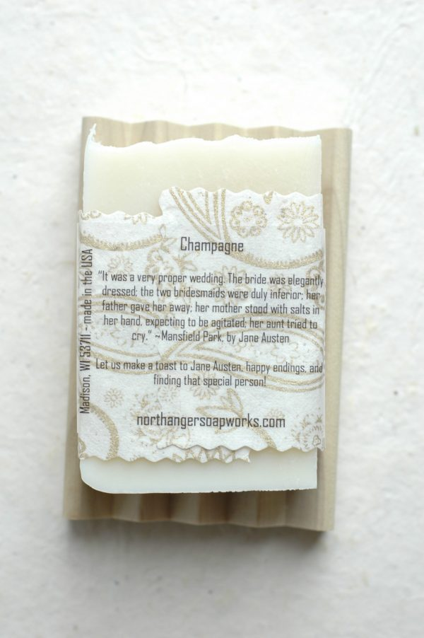 It was a very proper wedding. The bride was elegantly dressed; the two bridesmaids were duly inferior; her father gave her away; her mother stood with salts in her hand, expecting to be agitated; her aunt tried to cry. ~Mansfield Park, by Jane Austen. Can you not picture the amusement? This inspired bar soap is champagne scented and perfect for celebrations. The perfect Jane Austen gift for a lady or gentleman! #janeaustenwedding #janeausten