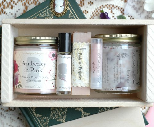 Inspired by Mr. Darcy's grand estate in bloom, Pemberley in Pink is a collection well-suited to any lady. It includes bar soap, lip balm, bath salts, perfume,, and a candle, all pink with pink related scents! An inspired Jane Austen gift.