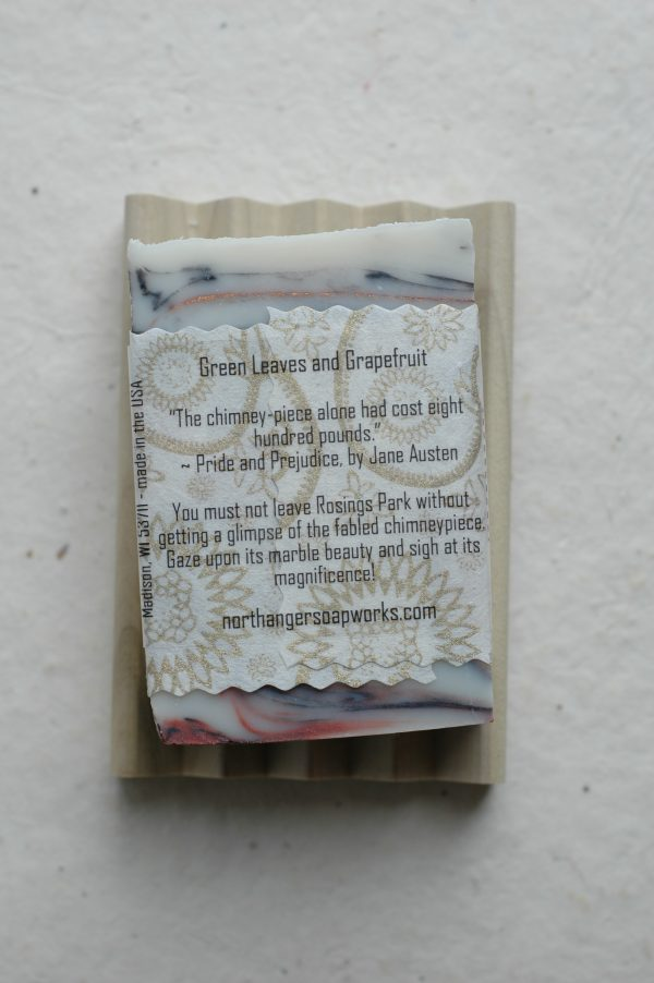 The Chimneypiece at Rosings Park is a remarkable thing to behold. Mr. Collins will be delighted to point it out to you! This soap is inspired by the famous Chimneypiece of Pride and Prejudice, by Jane Austen