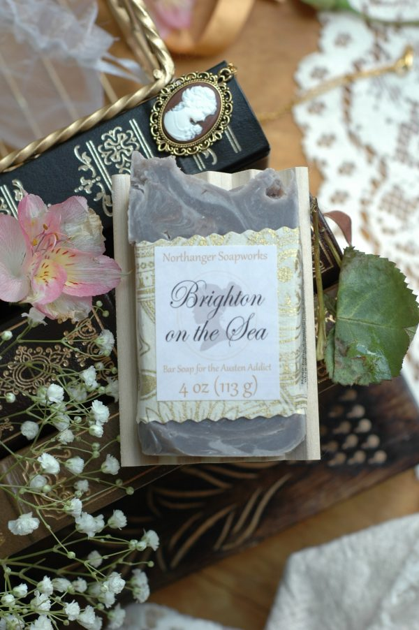 Brighton on the Sea soap, inspired by the lovely city where scandal is afoot in Pride and Prejudice. Enjoy a day at the beach, sipping your favorite fruity drink and secretly wish you could run off with your own dashing soldier. #JaneAusten #handmadesoap #janeaustengifts