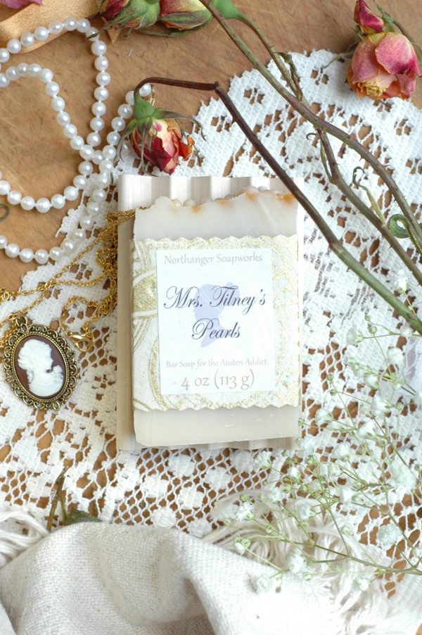 This pearl topped soap was left to Miss Tilney by her mother. Inspired by Northanger Abbey, by Jane Austen