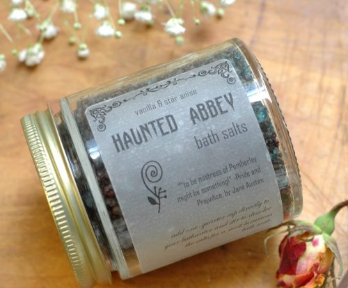 Haunted Abbey bath salts are inspired by Catherine Morland's first night at Northanger Abbey! This will turn your bathwater black.